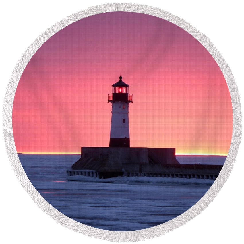 Sunrise Round Beach Towel featuring the photograph Pretty In Pink by Alison Gimpel