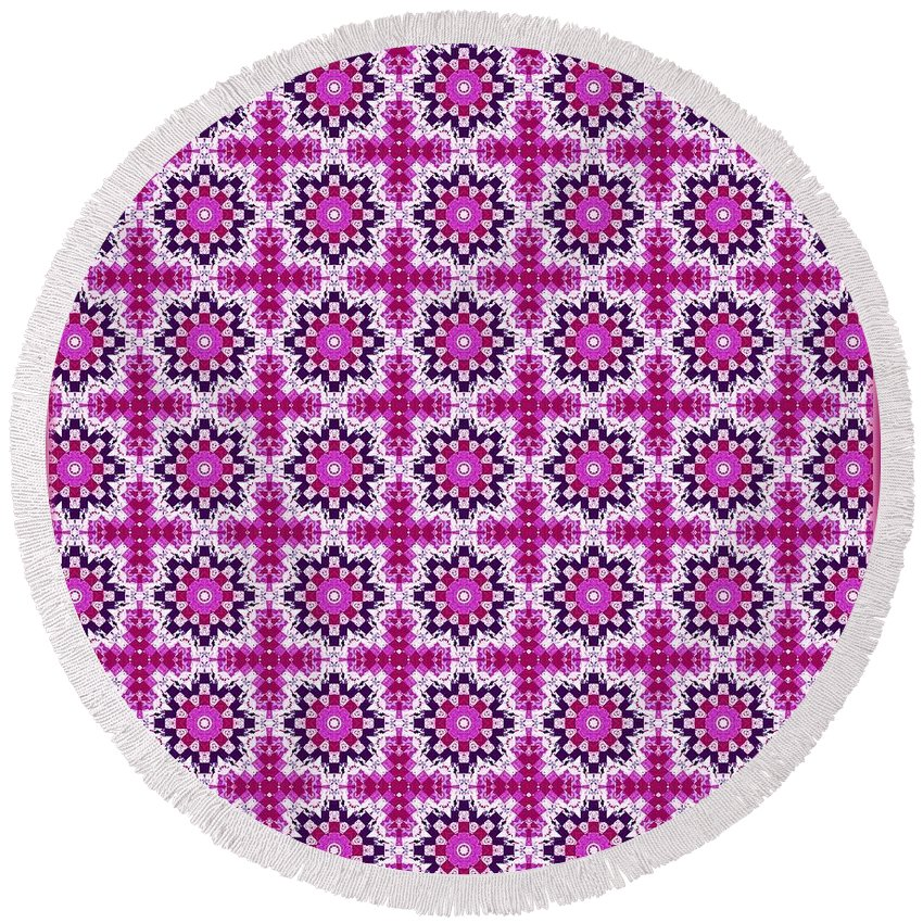 Pretty In Pink Round Beach Towel featuring the digital art Pretty In Pink by Barbara Griffin