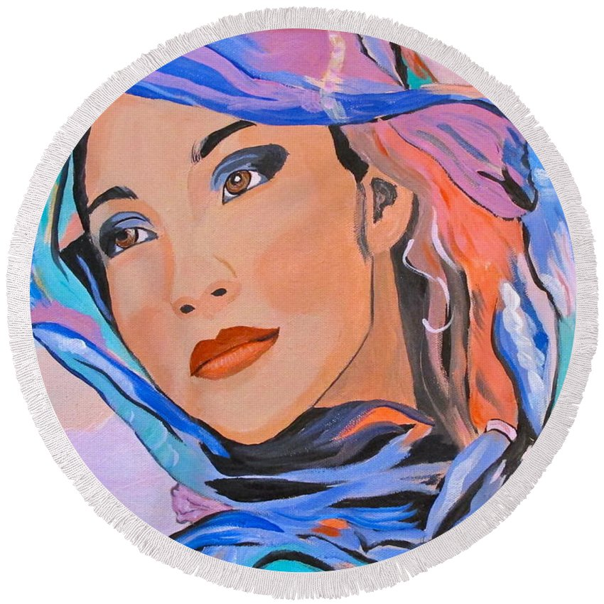 Beautiful Lady Round Beach Towel featuring the painting Pretty Lady by Phyllis Kaltenbach