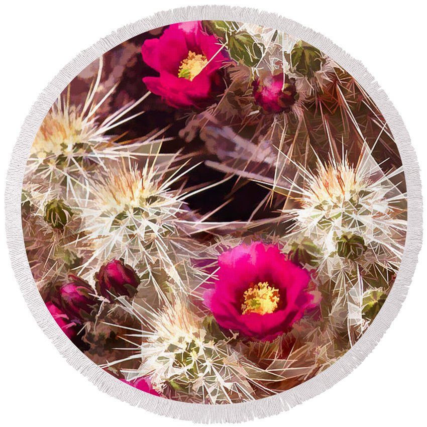 Cactus Round Beach Towel featuring the painting Prickley Cactus Plants by Elaine Plesser