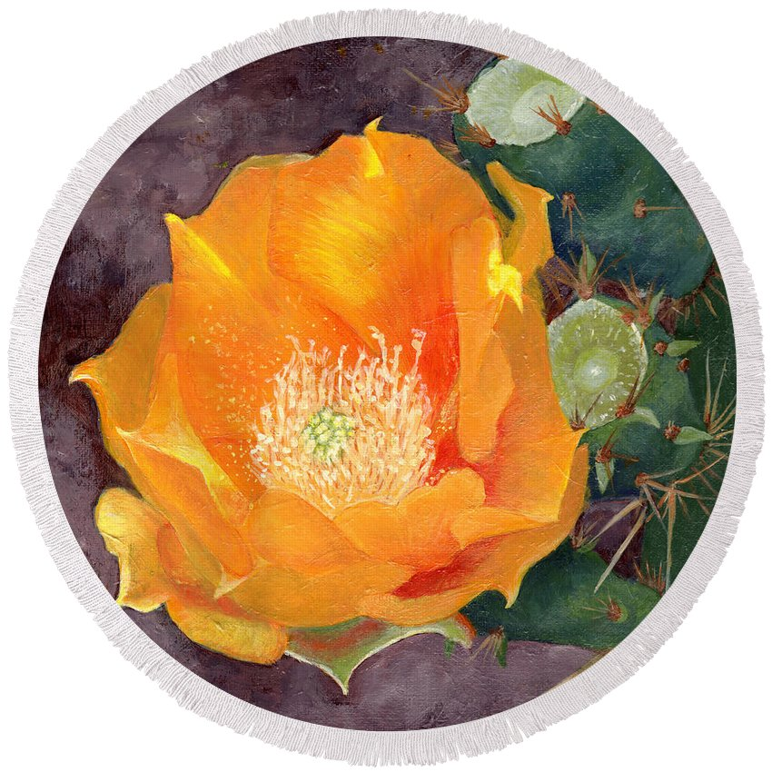 Nature Round Beach Towel featuring the painting Prickly Pear Blossom by Sue Sill