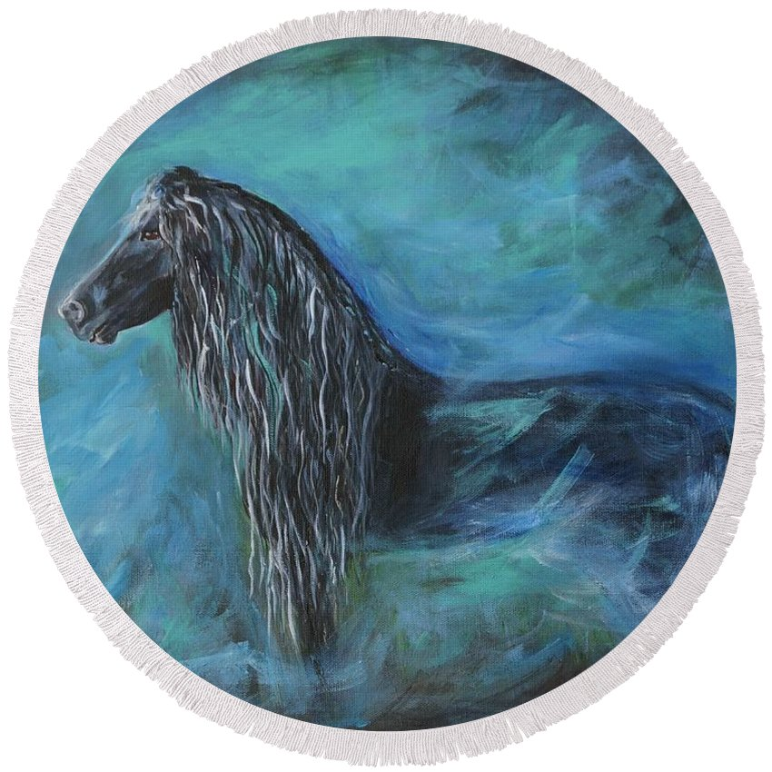 Horse Painting Round Beach Towel featuring the painting Pride Of Friesians by Leslie Allen