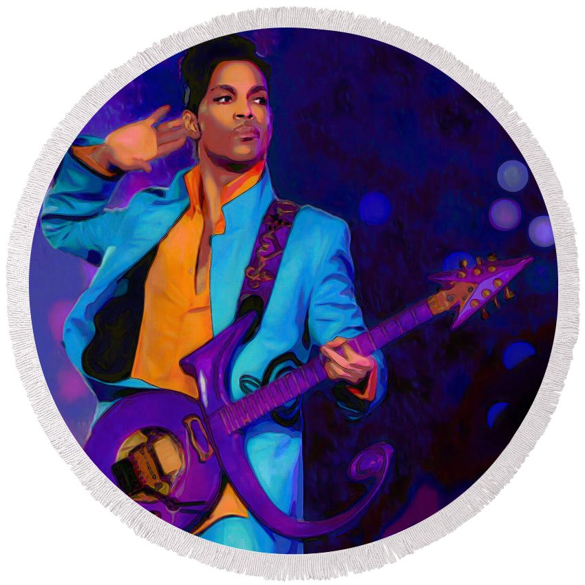 Prince 2 Round Beach Towel featuring the painting Prince 3 by Fli Art