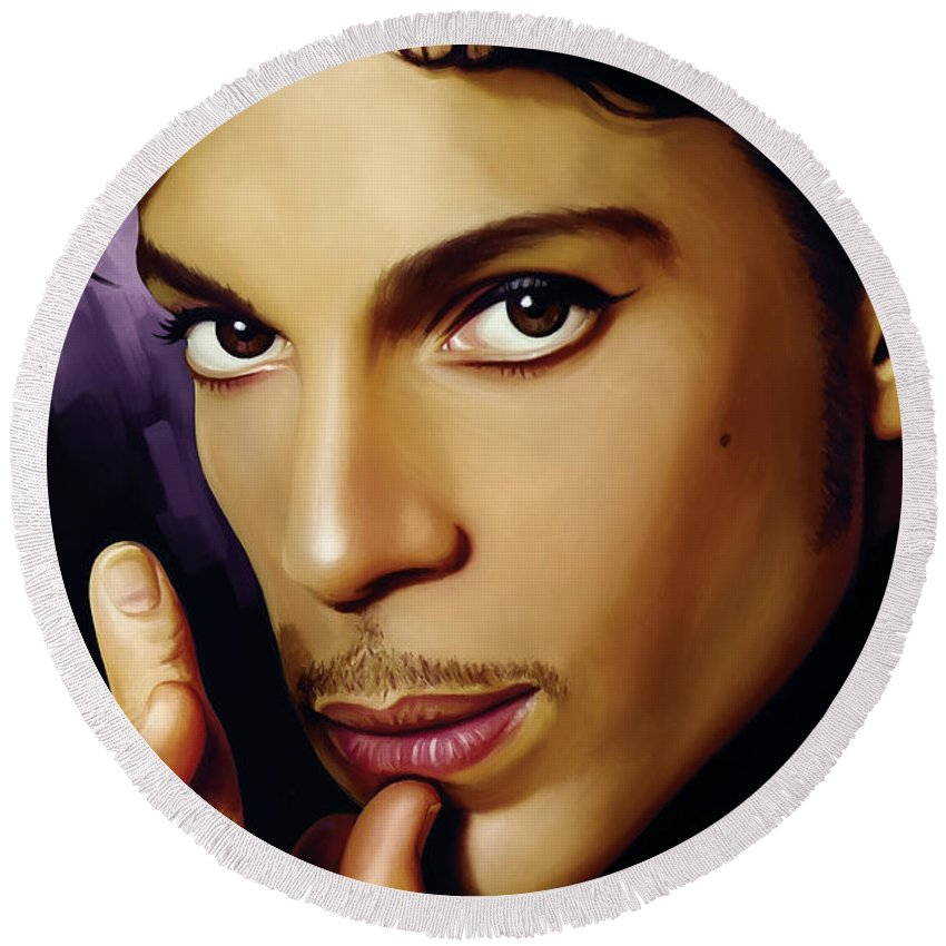 Prince Paintings Round Beach Towel featuring the painting Prince Artwork by Sheraz A
