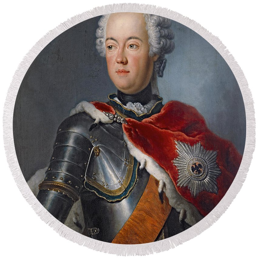 Male Round Beach Towel featuring the photograph Prince Augustus William Oil On Canvas by Antoine Pesne