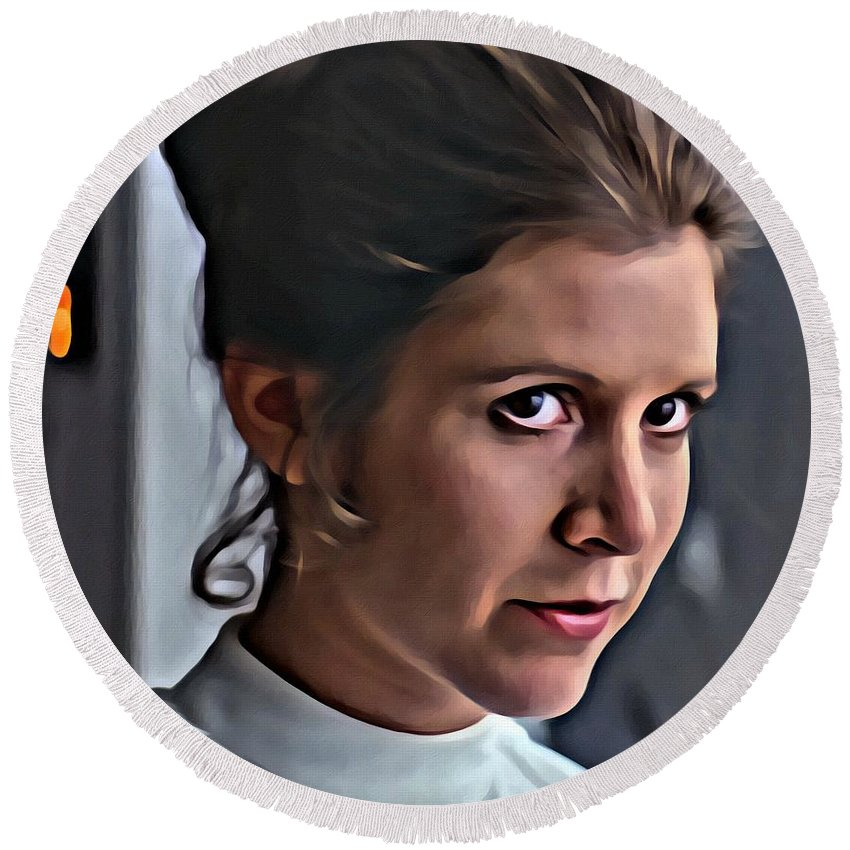 Princess Leia Round Beach Towel featuring the painting Princess Leia by Florian Rodarte