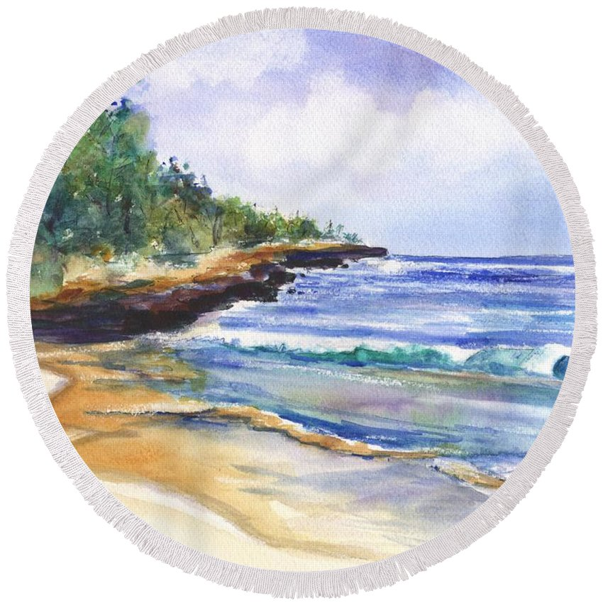 Watercolor Seascape Round Beach Towel featuring the painting Pristine Mahaulepu Beach by Marionette Taboniar