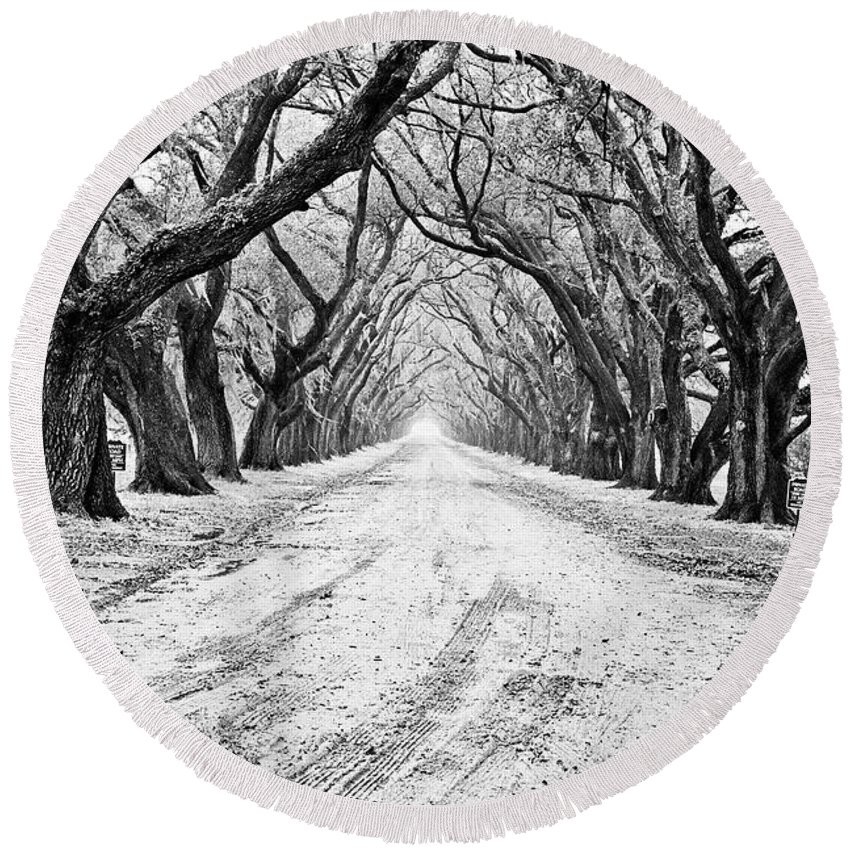 Black&white Round Beach Towel featuring the photograph Private Road by Scott Pellegrin