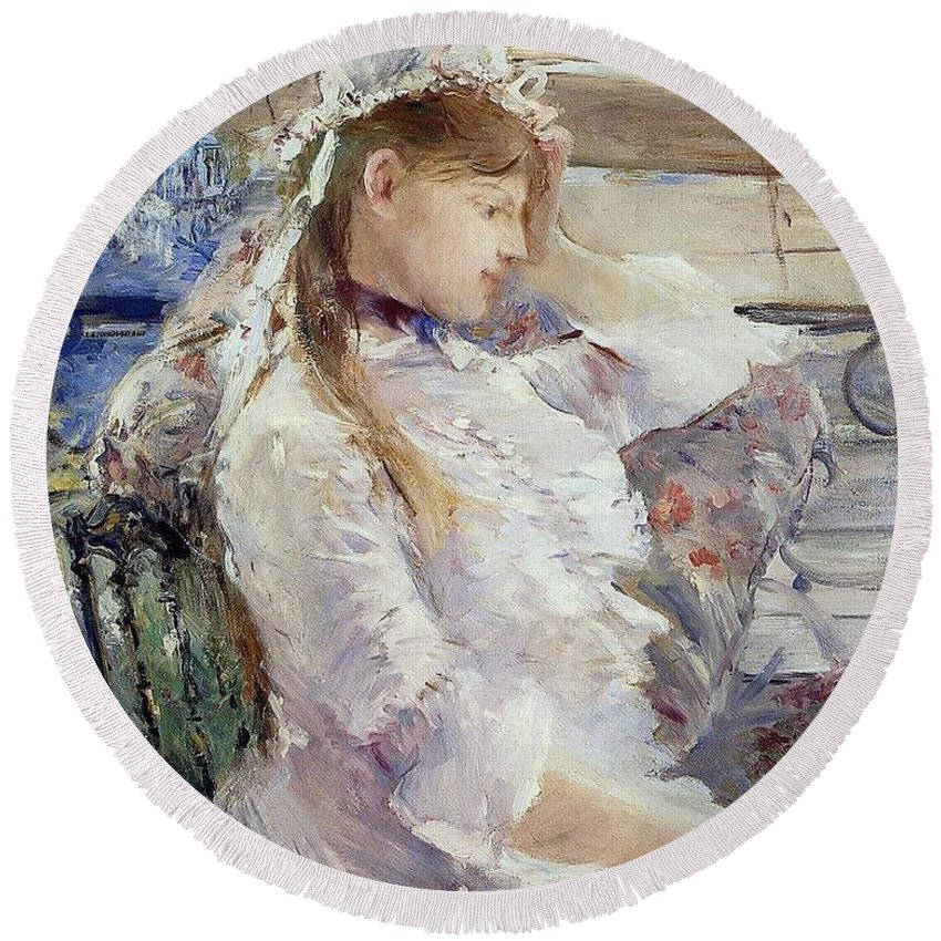 Female; Portrait; Half Length; White Dress; Gown; Impressionist; Outside; Bonnet; Frills; Frilly Round Beach Towel featuring the painting Profile Of A Seated Young Woman by Berthe Morisot