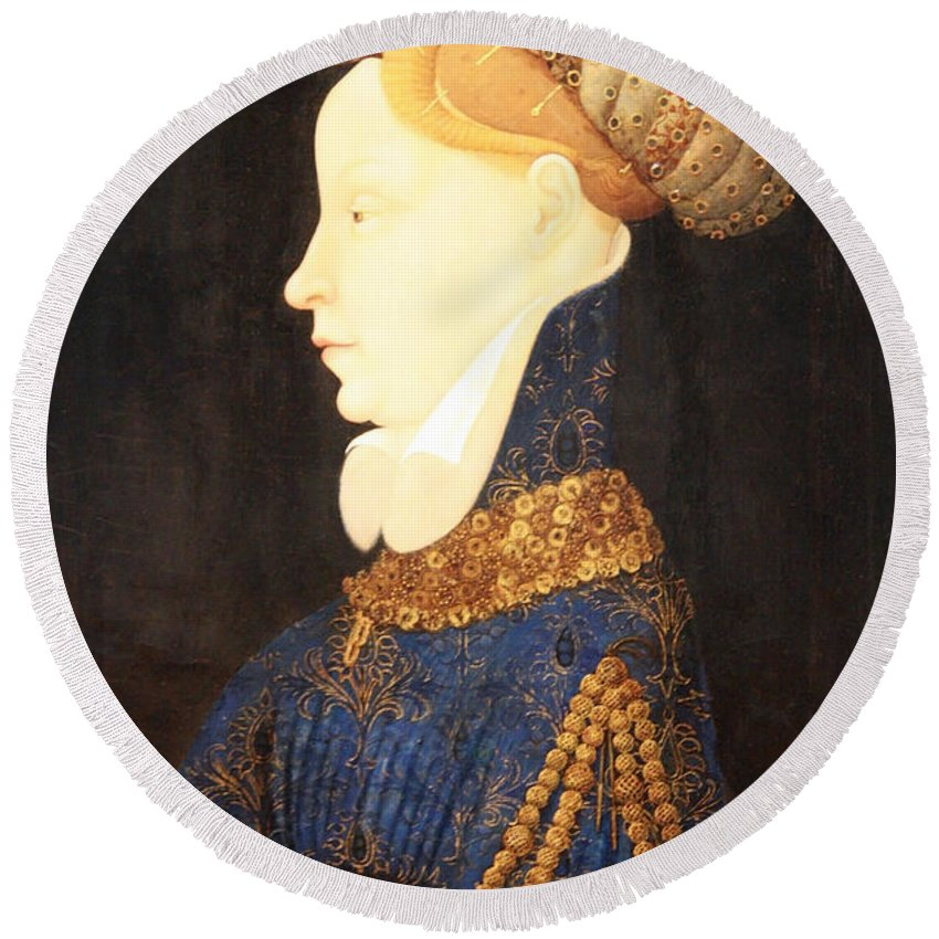 Profile Portrait Of A Lady Round Beach Towel featuring the photograph Profile Portrait Of A Lady -- Franco Flemish 15th Century by Cora Wandel