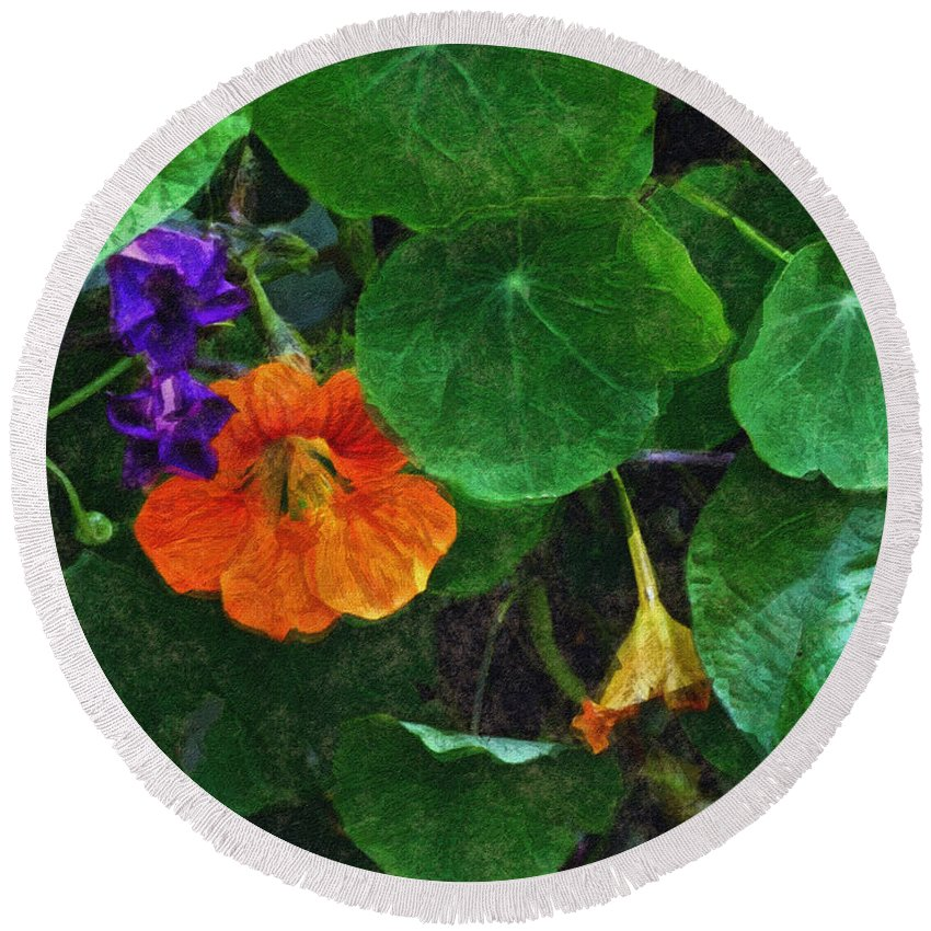 Nasturtiums Round Beach Towel featuring the painting Prolonging Summer by RC DeWinter