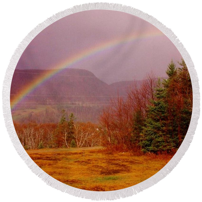 Rainbows Round Beach Towel featuring the photograph Promise And Hope Cape Breton by John Malone