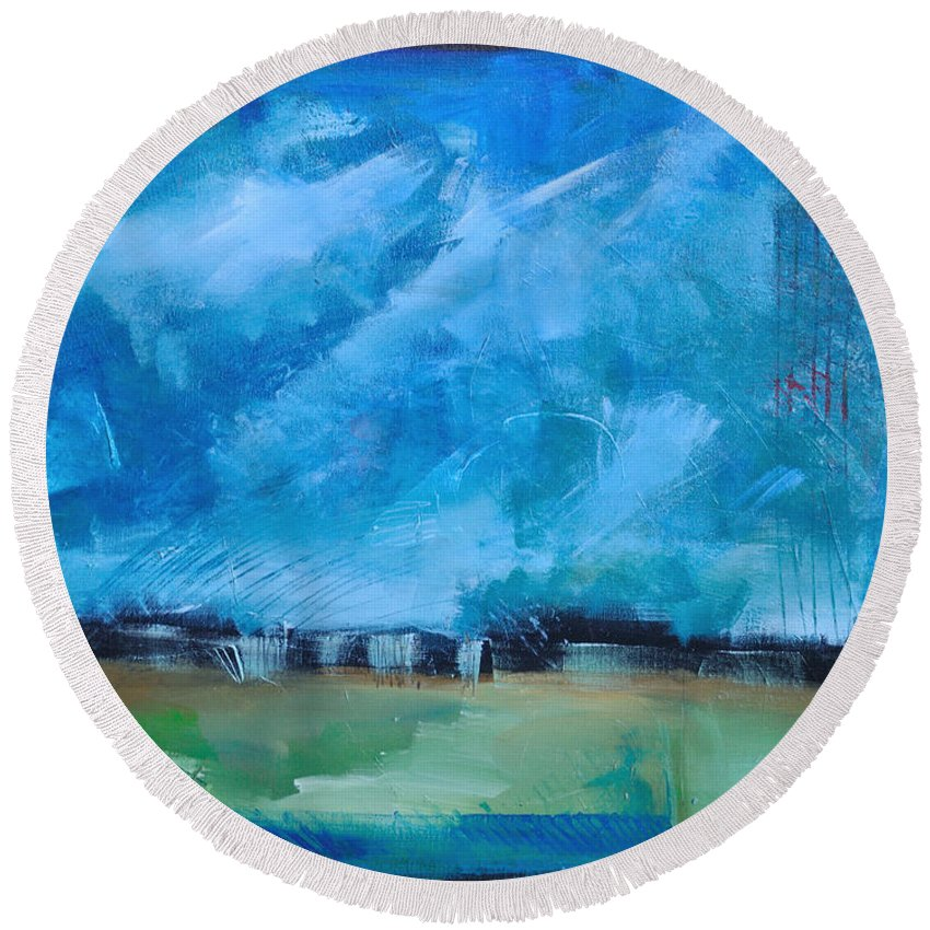 Abstract Round Beach Towel featuring the painting Prophesy by Tim Nyberg