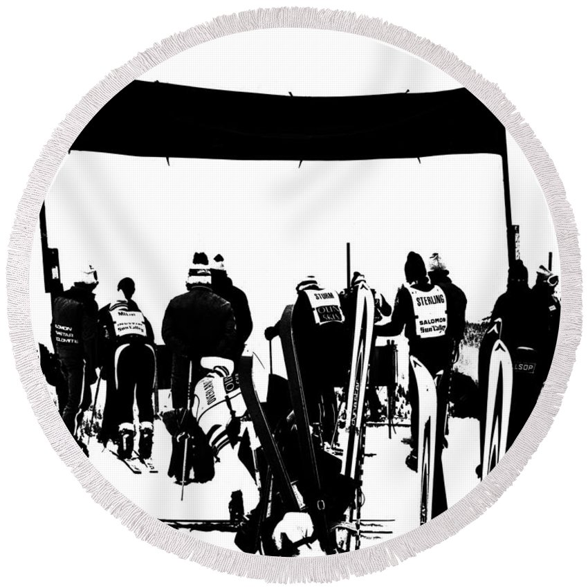 Pro Ski Racing Round Beach Towel featuring the photograph Pros Looking Over The Course by Larry Kjorvestad