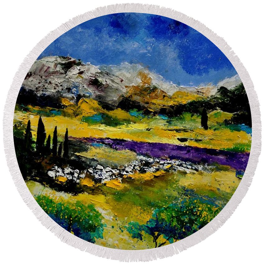 Landscape Round Beach Towel featuring the painting Provence 452121 by Pol Ledent