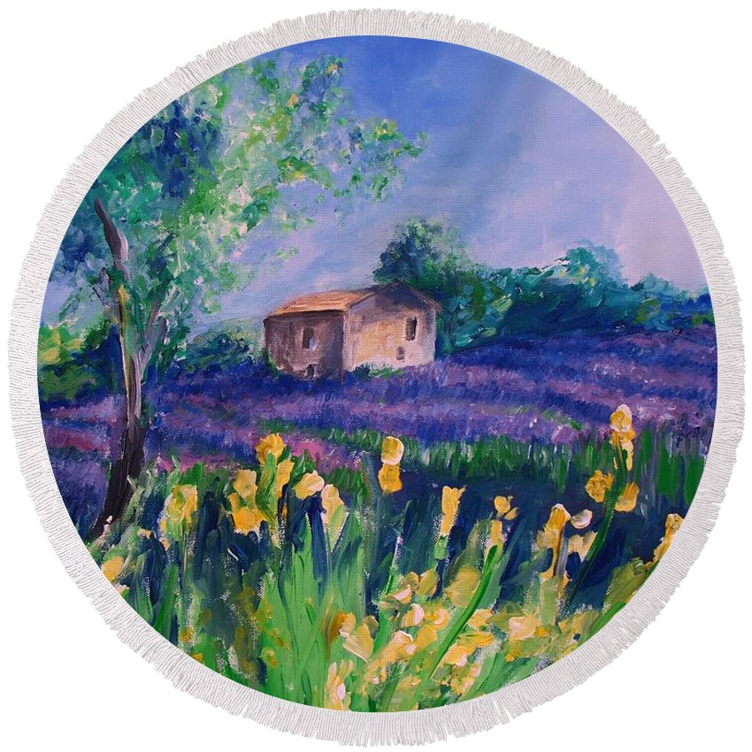 Floral Round Beach Towel featuring the digital art Provence Yellow Flowers by Eric Schiabor