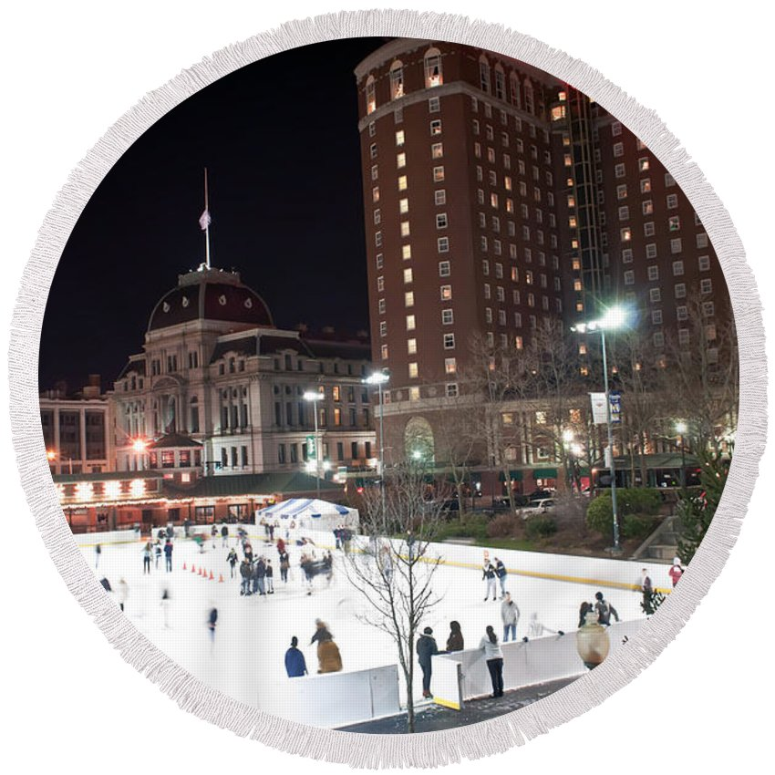 People Round Beach Towel featuring the photograph Providence On A Cold December Evening by Alex Grichenko