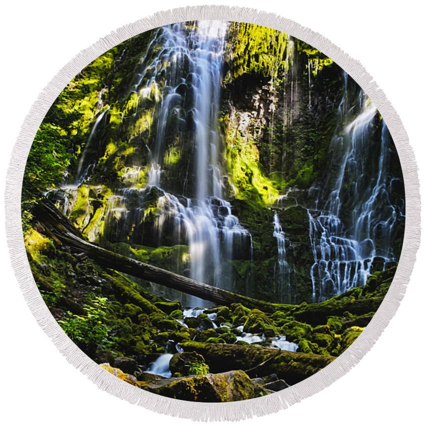 Proxy Falls Round Beach Towel featuring the photograph Proxy Falls by Belinda Greb