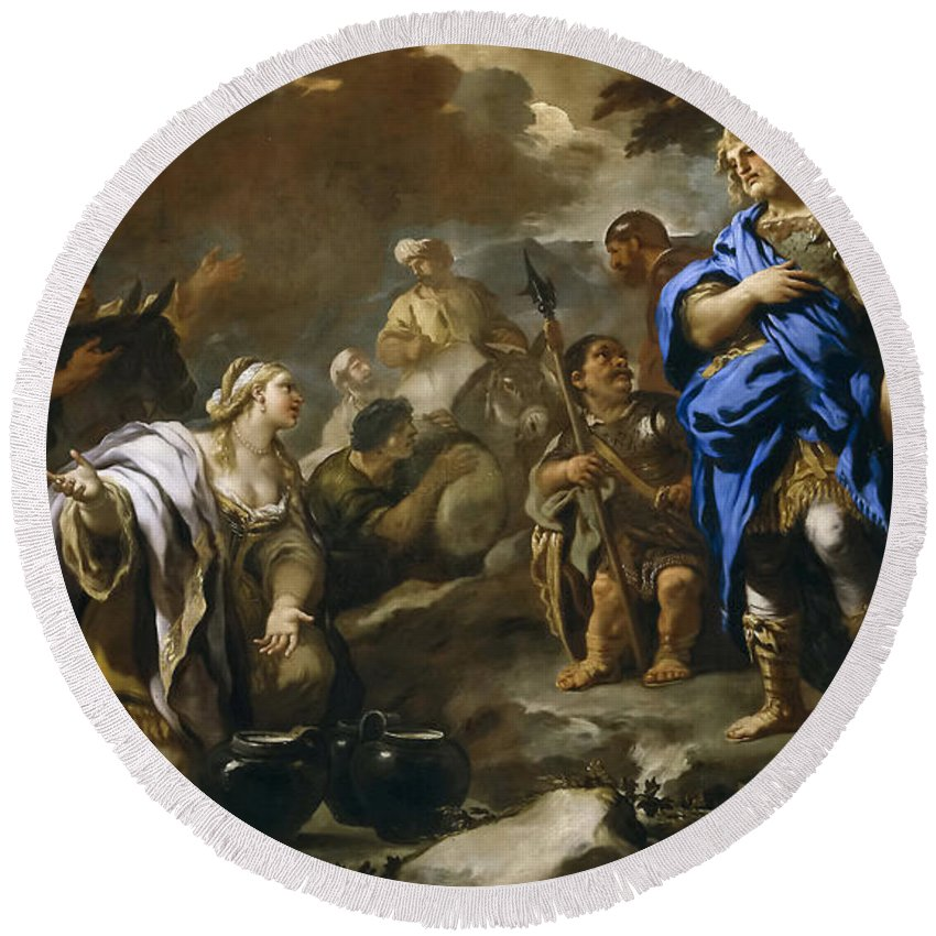 Luca Giordano Round Beach Towel featuring the painting Prudent Abigail by Luca Giordano