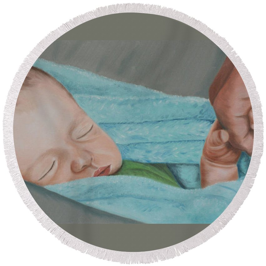 Newborn Round Beach Towel featuring the painting Psalm Four Eight by Jill Ciccone Pike