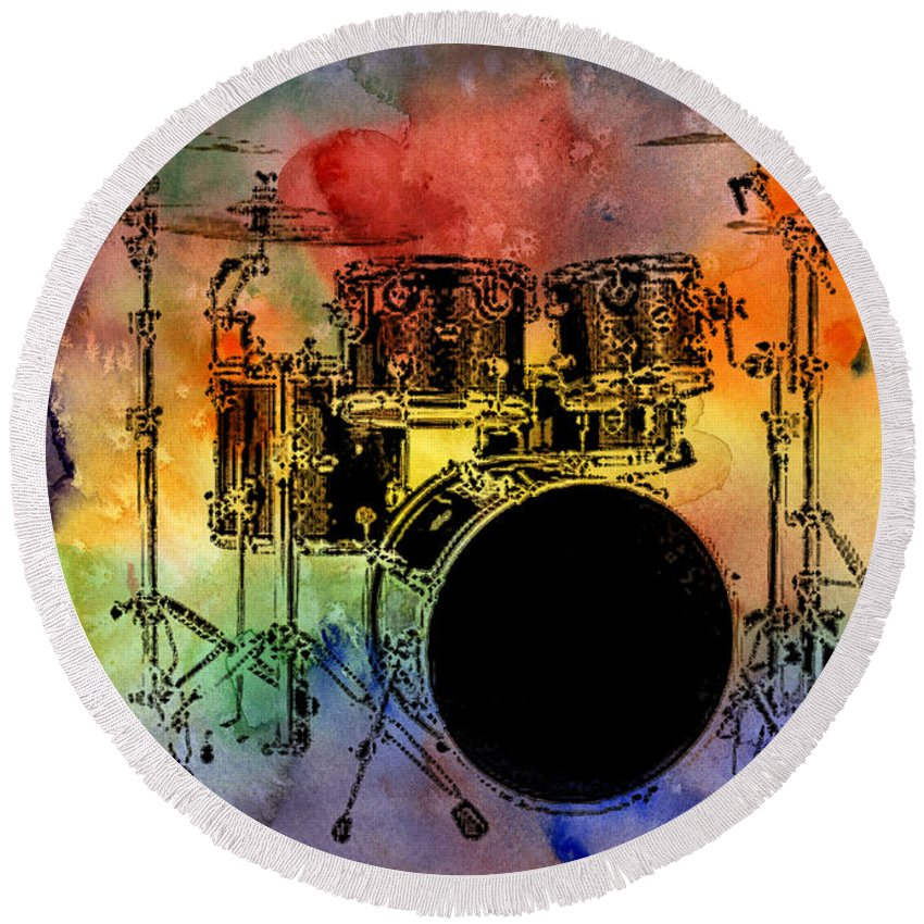 Drums Round Beach Towel featuring the photograph Psychedelic Drum Set by Athena Mckinzie