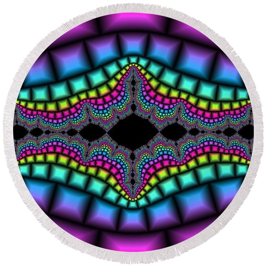 Multi Colored Round Beach Towel featuring the digital art Psychedelic by FL collection