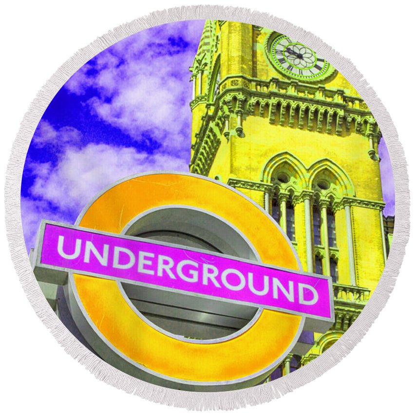 Underground Round Beach Towel featuring the photograph Psychedelic Underground by Stephen Stookey