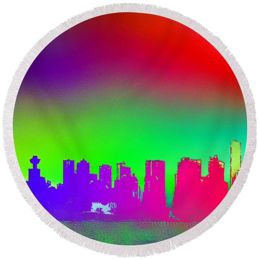 Vancouver Round Beach Towel featuring the digital art Psychedelic Vancouver Skyline Triptych Centre by Patricia Keith