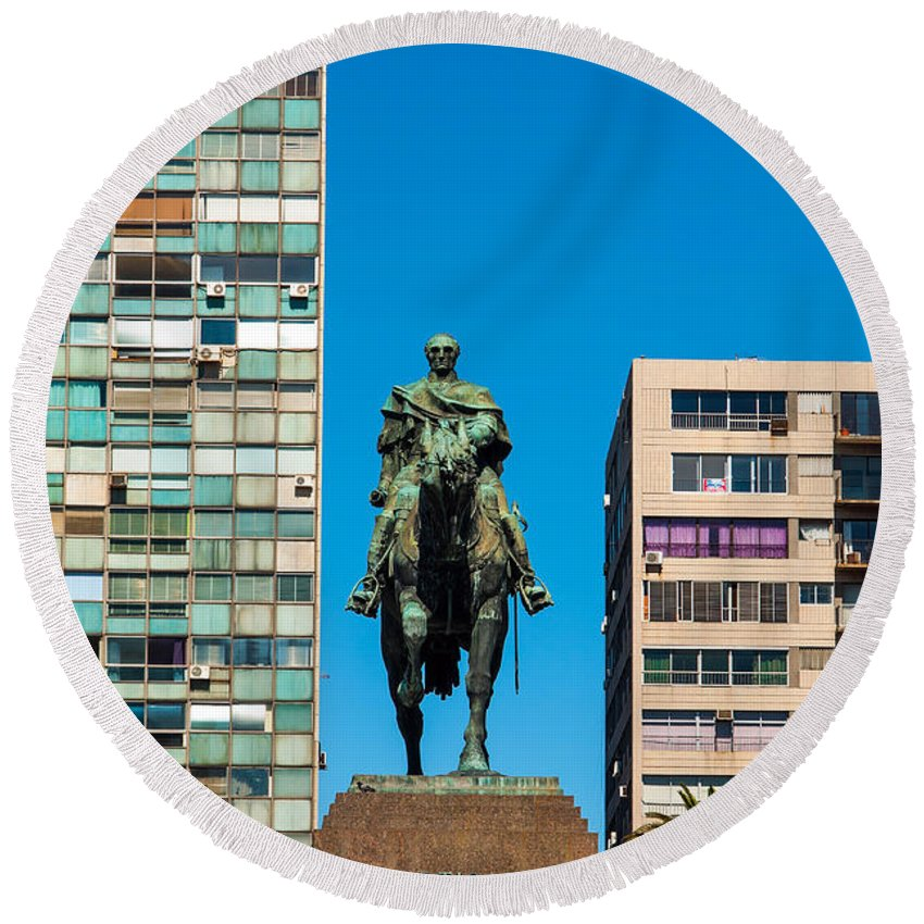 Montevideo Round Beach Towel featuring the photograph Public Statue Of General Artigas In Montevideo by Jess Kraft