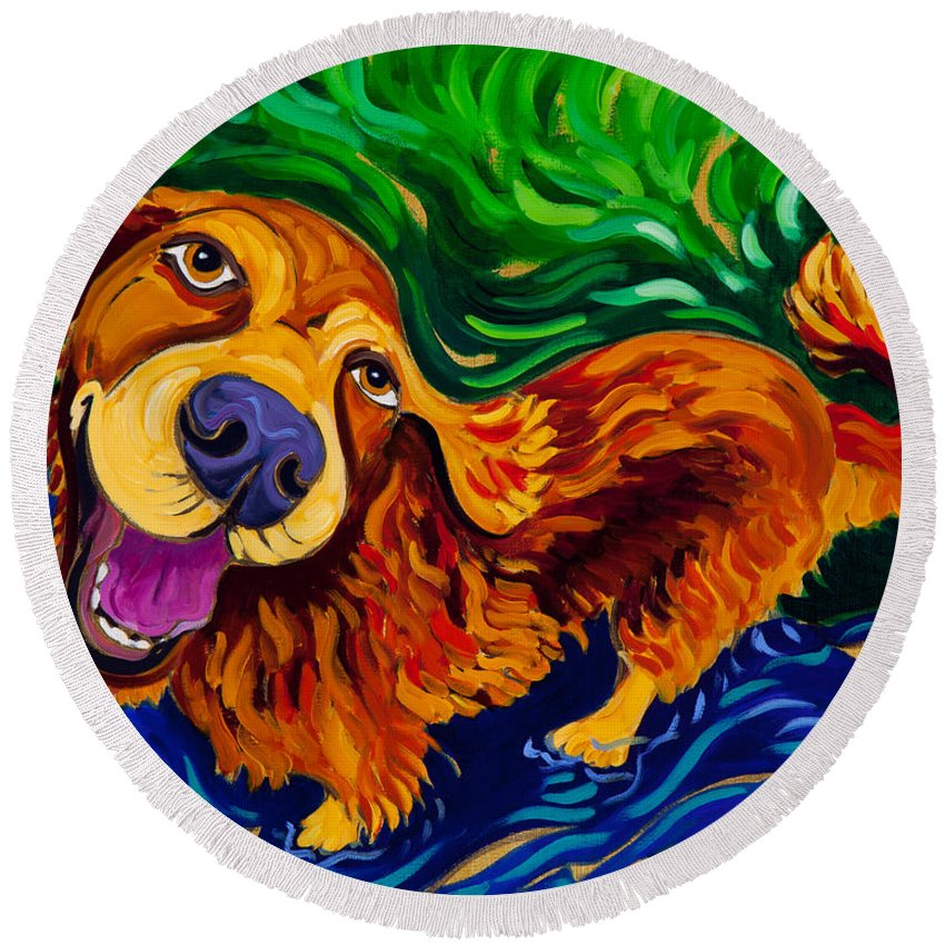 Golden Retriever Round Beach Towel featuring the painting Puddle Of Love by Cathy Carey