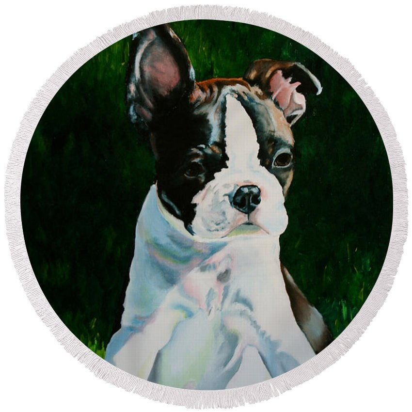Pet Round Beach Towel featuring the painting Pudge by Susan Herber