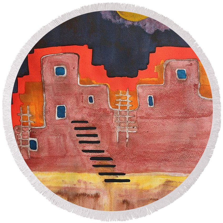 Pueblo Round Beach Towel featuring the painting Pueblito Original Painting by Sol Luckman