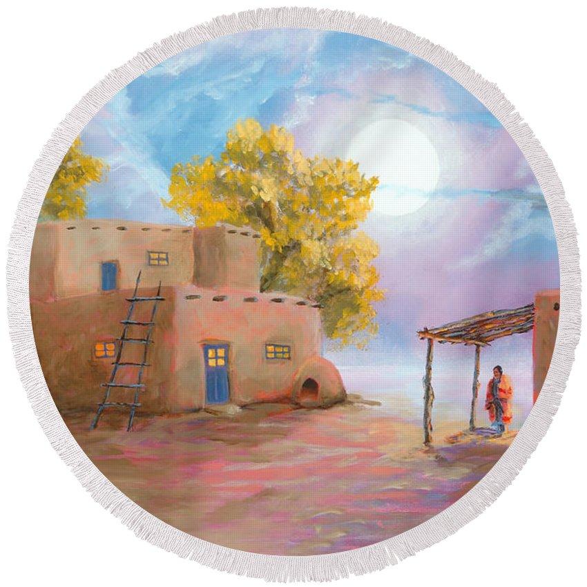 Pueblo Round Beach Towel featuring the painting Pueblo De Las Lunas by Jerry McElroy