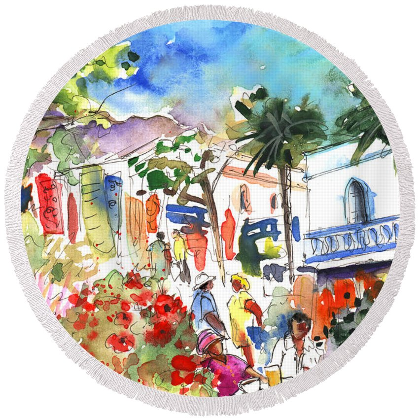 Travel Round Beach Towel featuring the painting Puerto Mogan 10 by Miki De Goodaboom