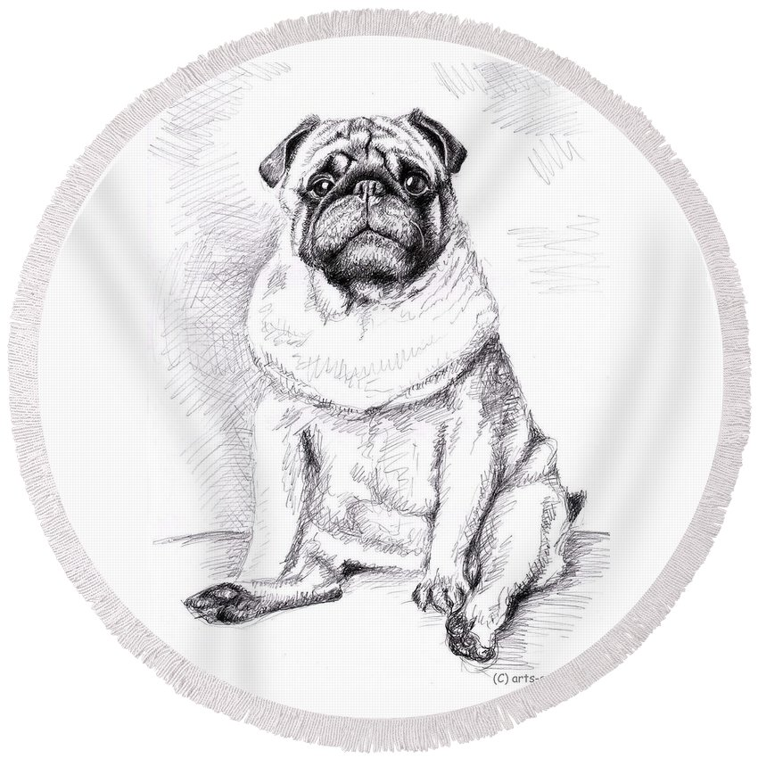 Dog Round Beach Towel featuring the drawing Pug Anton by Nicole Zeug