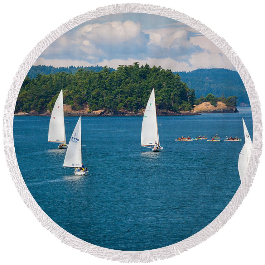 America Round Beach Towel featuring the photograph Puget Sound Sailboats by Inge Johnsson