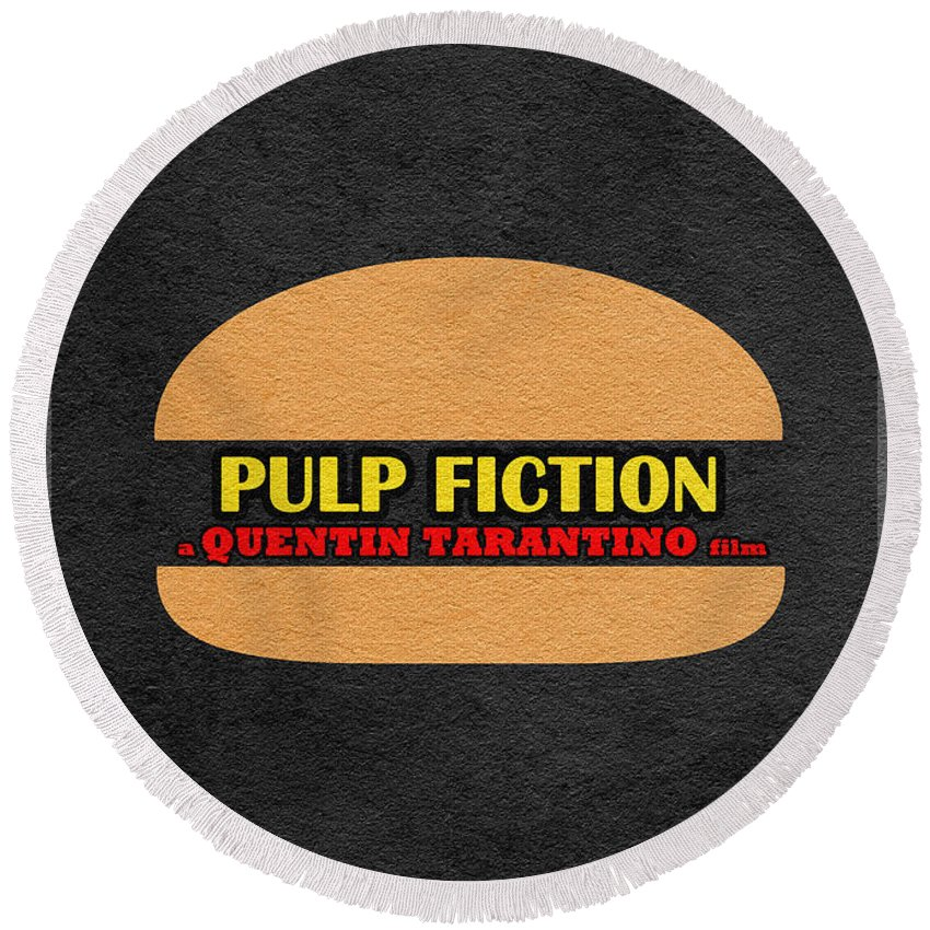 Pulp Fiction Round Beach Towel featuring the digital art Pulp Fiction by Inspirowl Design