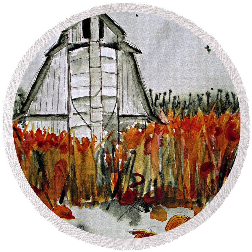 Barn Watercolor Round Beach Towel featuring the painting Pumpkin Dreams by Dawn Derman