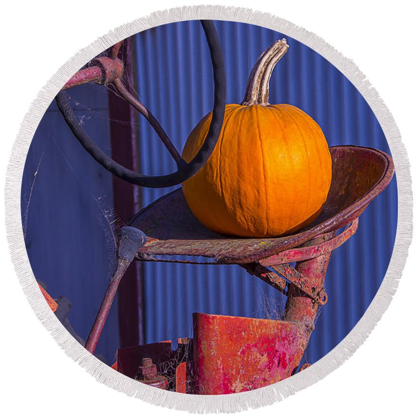 Pumpkin Round Beach Towel featuring the photograph Pumpkin On Tractor Seat by Garry Gay
