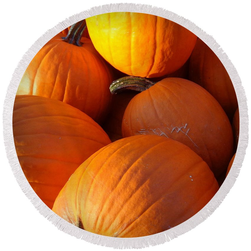Joseph Skompski Round Beach Towel featuring the photograph Pumpkins by Joseph Skompski