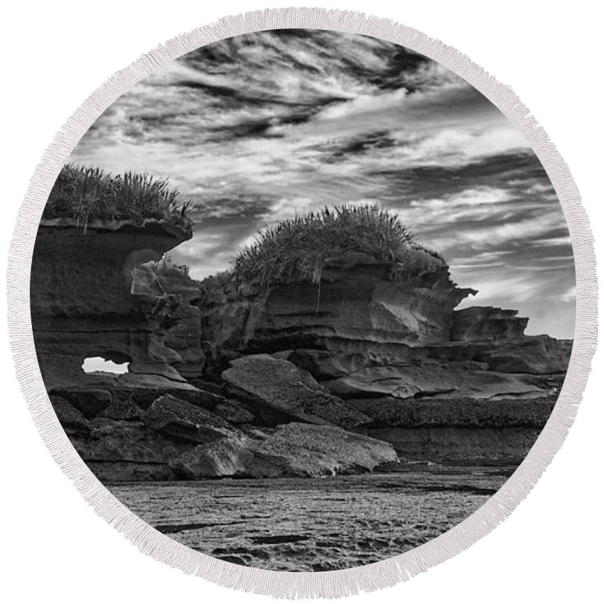 New Zealand Round Beach Towel featuring the photograph Punakaiki Truman Track #2 - Black And White by Stuart Litoff