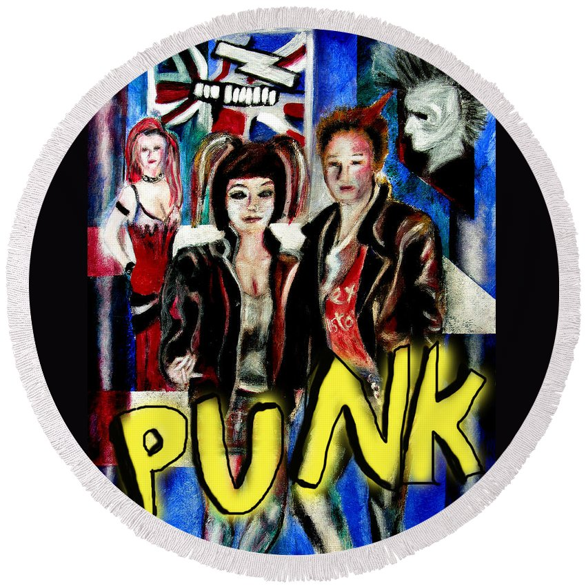 People Round Beach Towel featuring the painting Punk Style by Tom Conway