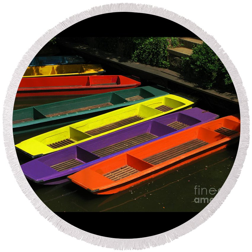 Punts Round Beach Towel featuring the photograph Punts For Hire by Ann Horn