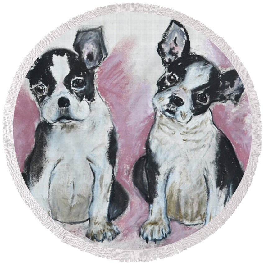 Puppy Round Beach Towel featuring the drawing Puppy Puppy by Cori Solomon