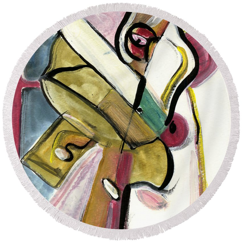 Abstract Art Round Beach Towel featuring the painting Pure Gold by Stephen Lucas