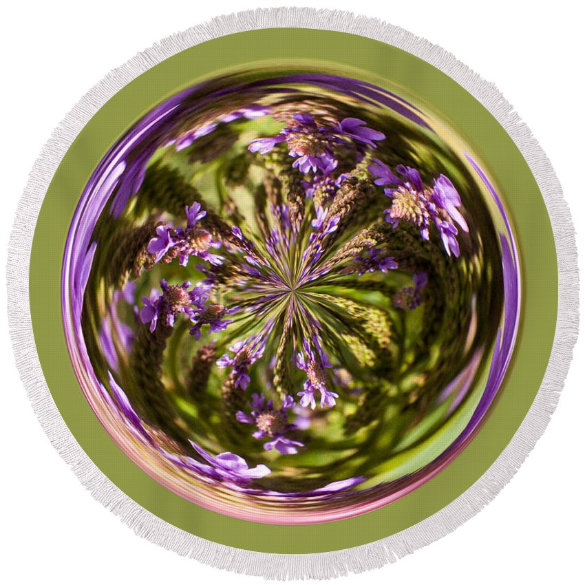 Orb Round Beach Towel featuring the photograph Purpble Wildflower Orb by Darleen Stry