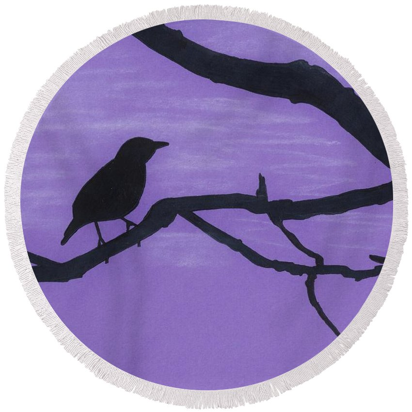 Pastels Round Beach Towel featuring the drawing Purple - Bird - Silhouette by D Hackett