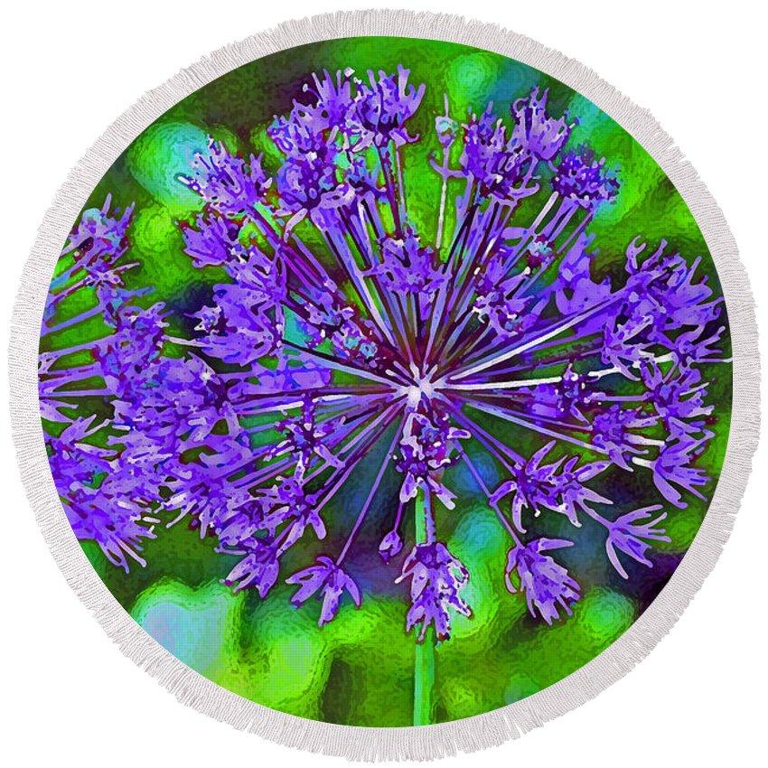 Garden Round Beach Towel featuring the photograph Purple Allium Flower by Karen Adams