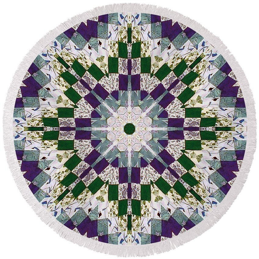 Patchwork Round Beach Towel featuring the photograph Purple And Green Patchwork Art by Barbara Griffin