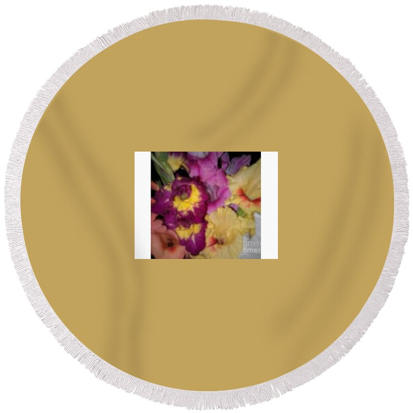 Purple Round Beach Towel featuring the photograph Purple And White Flowers by Frederick Holiday
